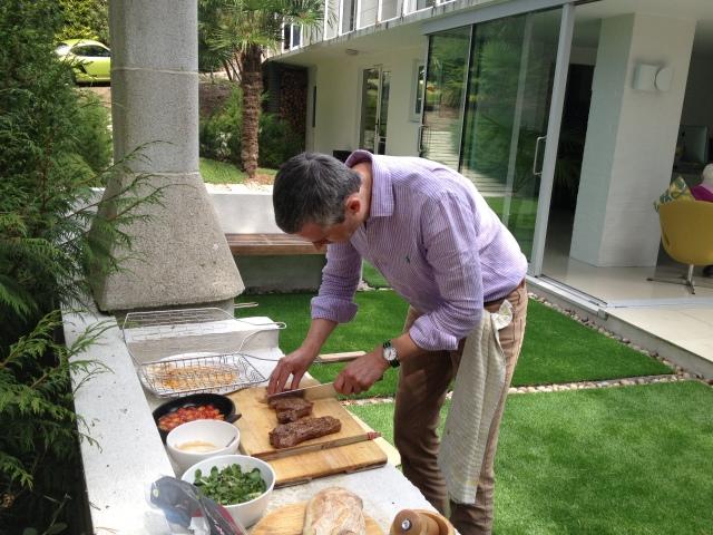 Al making lunch today at the Studio, BBQ steak sarnie